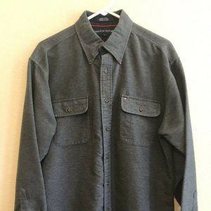 Tommy Hilfiger Large Gray Button Front Shirt Soft